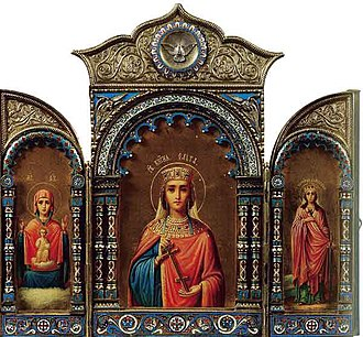 Olga of Kiev - Romanov Imperial icon created in 1895 of St. Olga. Silver, gold, color enamel, tempera. Collection V.Logvinenko