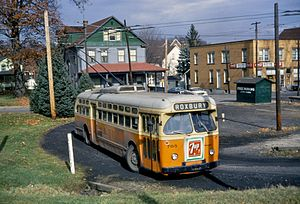 St. Louis Car Company - A St. Louis Car-built trolley bus in Johnstown, Pennsylvania, in 1967