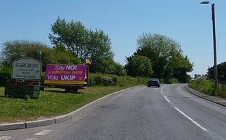 "UK Independence Party - UKIP placard on the side of the road in Starcross, Devon, declaring: ""Say NO to European Union"""