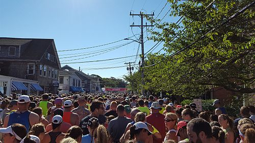 The starting line of the 2016 Falmouth Road Race.