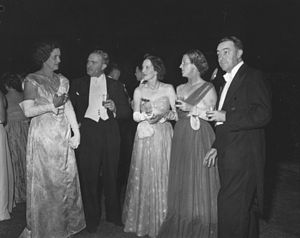 White tie - Guests at the white-tie Royal Ball in Brisbane, 1954