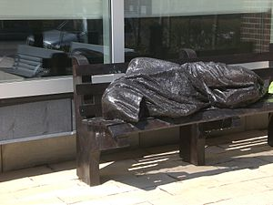 Statue of Christ the Homeless, Regis College, Toronto.JPG