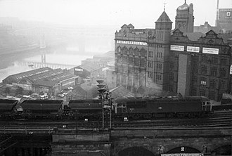 Stella power stations - A coal train from the Durham coal fields en route to the North station, viewed on Newcastle's High Level Bridge in 1982