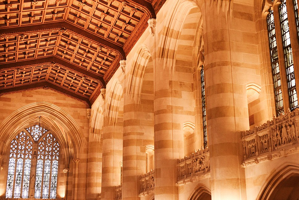 Sterling Memorial Library Interior (bright color scale)