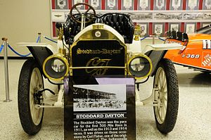 1911 Indianapolis 500 - The 1911 Stoddard-Dayton pace car on display at the Indianapolis Motor Speedway Hall of Fame Museum.