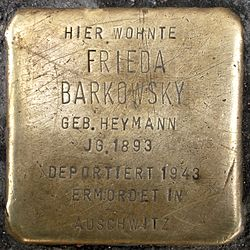 Photo of Frieda Barkowsky brass plaque