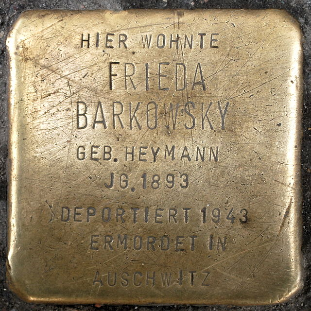 Photo of Frieda Barkowsky brass plaque