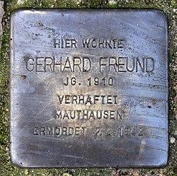 Photo of Gerhard Freund brass plaque