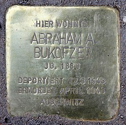 Photo of Abraham A. Bukofzer brass plaque