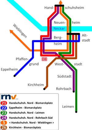 Trams in Heidelberg - Heidelberg tramway network.