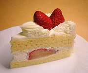 Sweet foods, such as this strawberry shortcake, are often eaten for dessert.