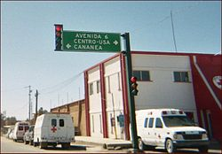 Highway sign pointing to Cananea