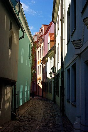 English: Streets of Riga, Latvia. Português do...