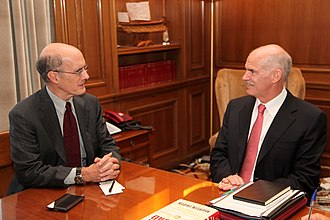 Strobe Talbott - Talbott with George Papandreou, Prime Minister of Greece, 2009