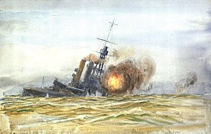 SMS Baden - Painting of Baden sinking as a target ship, August 16, 1921