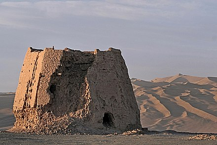 The ruins of a Han-dynasty watchtower made of rammed earth at Dunhuang, Gansu province, the eastern edge of the Silk Road Summer Vacation 2007, 263, Watchtower In The Morning Light, Dunhuang, Gansu Province.jpg