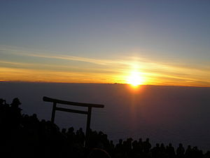 English: Sun Rise on the Mt. Fuji