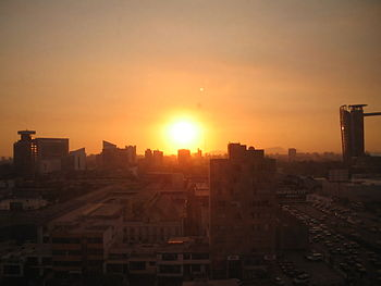 Sun over San Isidro District of Lima