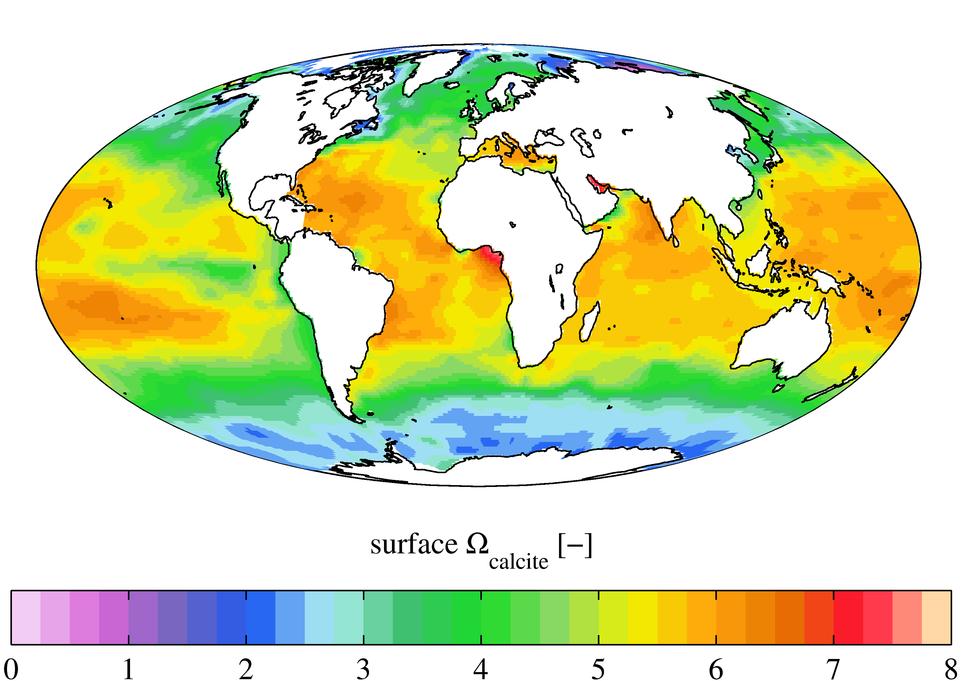Surface ocean present-day omega calcite, GLODAPv2