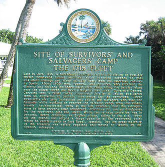 Orchid Island (Florida) - Survivors' and Salvagers' Camp - 1715 Fleet historic marker near 13180 North A1A on Orchid Island