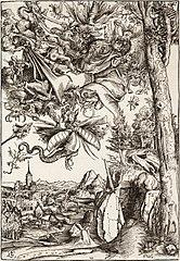 Svatý Antonín nesený démony