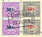 Switzerland railway stamps used OERLIKON 23-III-1931.jpg