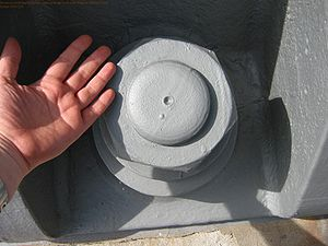 Nut (hardware) - Nuts come in many sizes. This one is part of the Sydney Harbour Bridge.