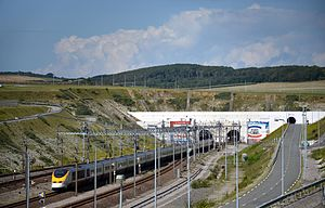 The Tunnel (TV series) - Some scenes were filmed in the Channel Tunnel (pictured, entrance to the tunnel in Coquelles, France)