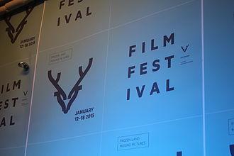 Tromsø International Film Festival - Festival logo on the wall in the ticket office