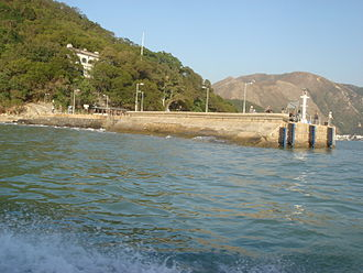 Old Tai O Police Station - The Old Tai O Police Station is visible on the hill, overlooking Shek Tsai Po Ferry Pier (Tai O Public Pier).