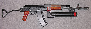 Pallad grenade launcher - The wz. 74 grenade launcher mounted on a wz. 88 Tantal rifle