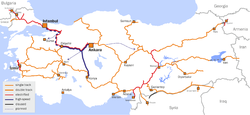 Turkish State Railways network: High-speed rail tracks under construction and in plan