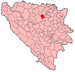 Location of Tešanj within Bosnia and Herzegovina.