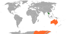 Map indicating locations of Thailand and Australia