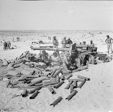 A German 88mm gun abandoned near the coast road, west of El Alamein, 7 November 1942 The British Army in North Africa 1942 E19174.jpg