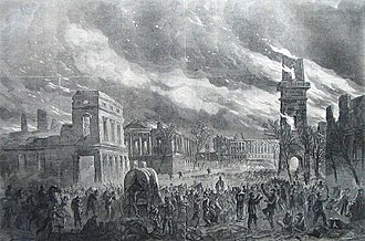 Campaign of the Carolinas - The Burning of Columbia, South Carolina, on February 17, 1865, as depicted in Harper's Weekly