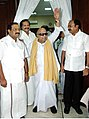 The Chief Minister of Tamil Nadu, Dr. M. Karunanidhi coming out after casting vote for Presidential election in Chennai on July 19, 2007.jpg