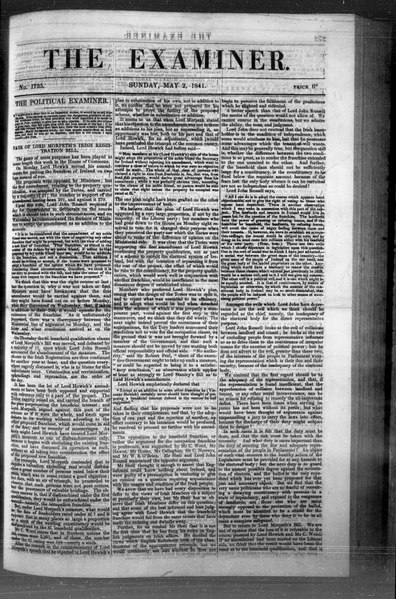File:The Examiner 1841-05-02- Iss 1735 (IA sim examiner-a-weekly-paper-on-politics-literature-music 1841-05-02 1735).pdf