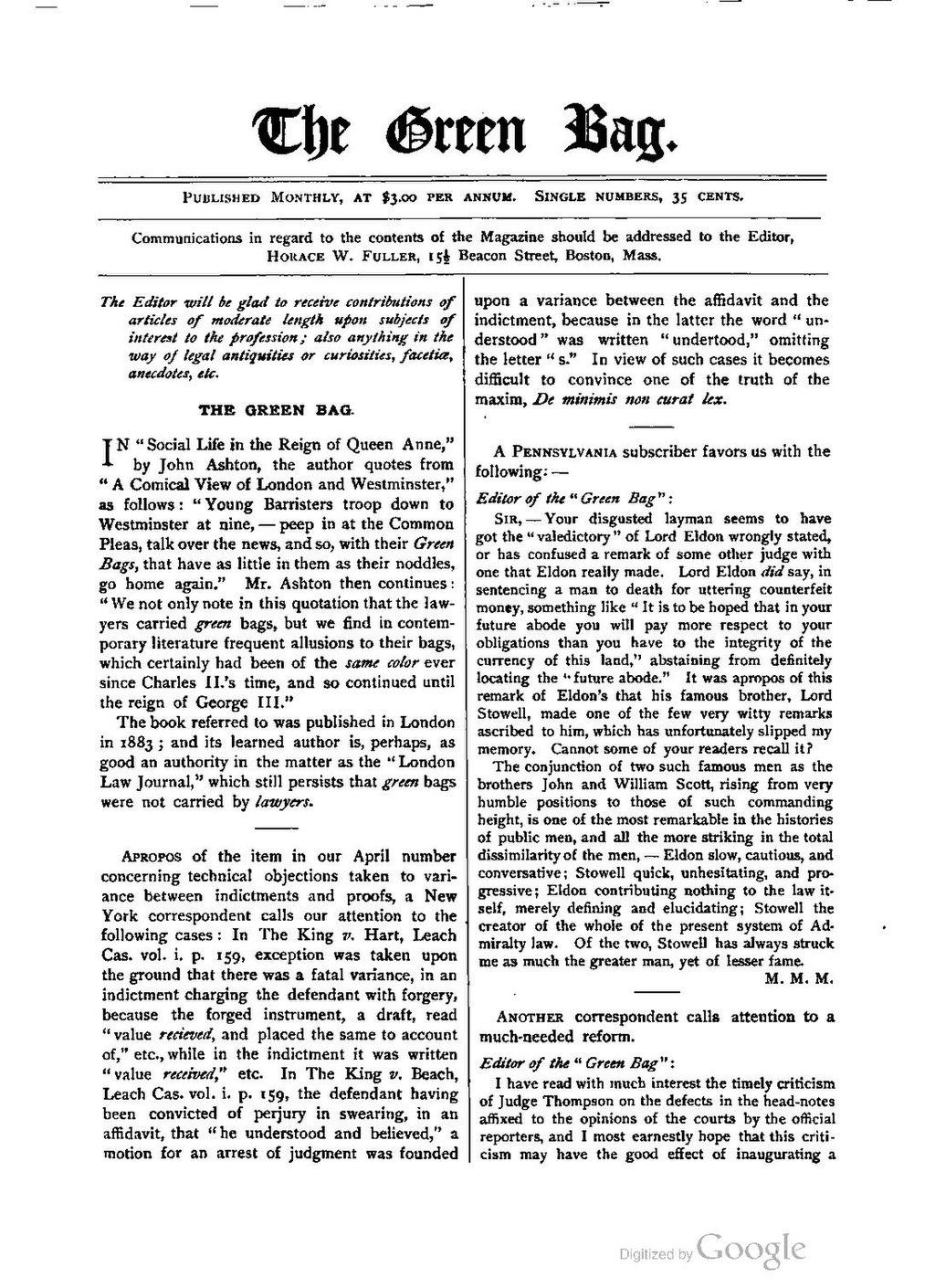 Page:The Green Bag (1889–1914), Volume 02 pdf/348