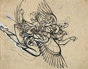 The Hindu God Vishnu Riding on His Mount Garuda LACMA M.77.154.12.jpg