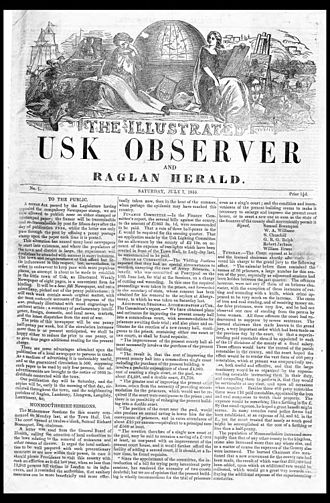 Usk - Front page of the earliest surviving copy of the newspaper The Illustrated Usk Observer, 7 July 1855