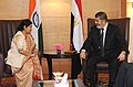 The Leader of Opposition in Lok Sabha, Smt. Sushma Swaraj calling on the President of the Arab Republic of Egypt, Dr. Mohamed Morsy, in New Delhi on March 19, 2013.jpg