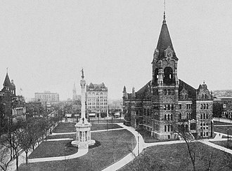 Scranton, Pennsylvania - City Hall and Soldiers Monument, ca. 1919, from National Geographic Magazine