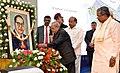 The President, Shri Pranab Mukherjee paying floral tributes to Babasaheb Dr. B.R. Ambedkar, at the foundation stone laying ceremony of the Bengaluru Dr. B.R. Ambedkar School of Economics, in Bengaluru, Karnataka.jpg