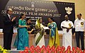 The President, Smt. Pratibha Devisingh Patil presenting the Best Actress Award to Ms. Umashree for Kannada Film Gulabi Talkies, at the 55th National Film Awards function, in New Delhi on October 21, 2009.jpg