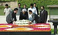 The President of Palestine, Mr. Mahmoud Abbas laying wreath at the Samadhi of Mahatma Gandhi at Rajghat, in Delhi on October 07, 2008.jpg