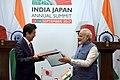 The Prime Minister, Shri Narendra Modi and the Prime Minister of Japan, Mr. Shinzo Abe at the joint press statement, during 12th India Japan Annual Summit, at Mahatma Mandir, in Gandhinagar, Gujarat on September 14, 2017 (4).jpg