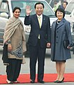 The Prime Minister of Japan, Mr. Yoshihiko Noda being received by the Minister of State for External Affairs, Smt. Preneet Kaur, on his arrival at the Palam Air Force Station, in New Delhi on December 27, 2011.jpg