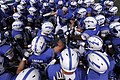 The U.S. Air Force Academy football team prepares to take the field prior to the start of their opening football game against the Idaho State Bengals at Falcon Stadium in Colorado Springs, Colo., Sept 120901-F-ZJ145-406.jpg