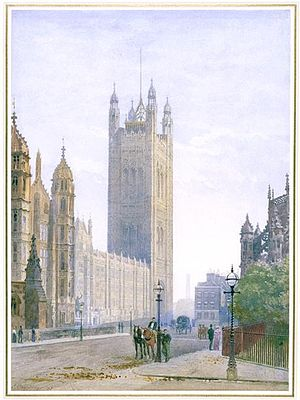 John Crowther - Image: The Victoria Tower of the Houses of Parliament Seen from Parliament Square by John Crowther